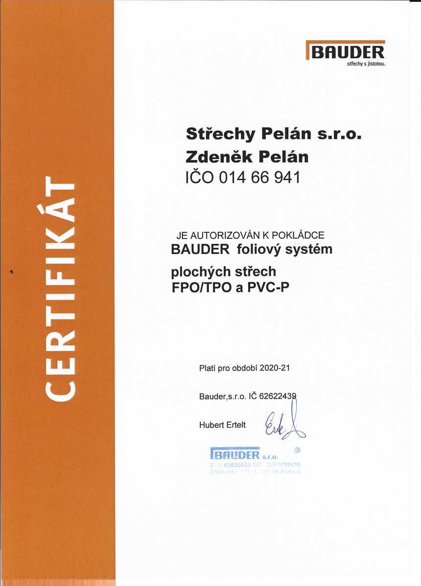Střechy Pelán Brno - Certifikace